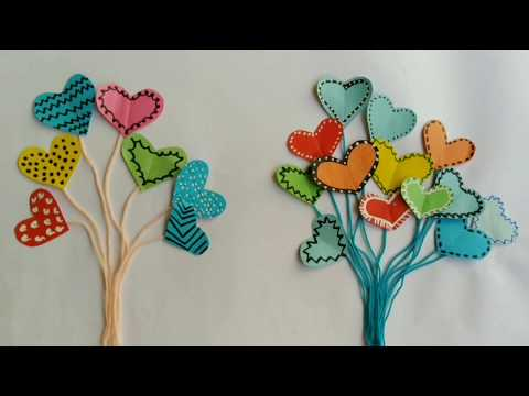 How To Make Mini Paper And Yarn Heart  Balloon For Handmade Card From Sticky Notes|| DIY|| Balloon.