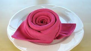 Repeat youtube video Servietten falten Rose / Blüte / Blume - Einfache DIY Tischdeko basteln: Hochzeit, Muttertag