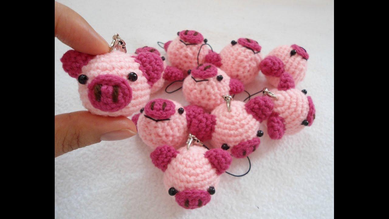 Amigurumi Pig : Cute pig keychain youtube