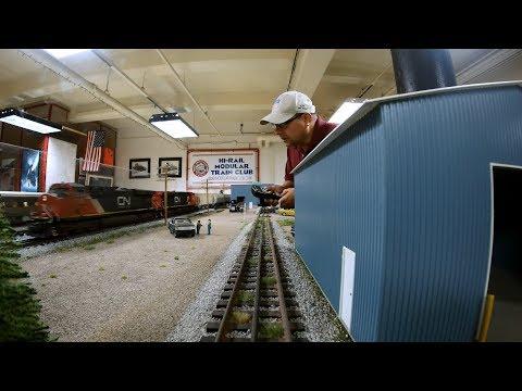 Model Train Layout Trackside- AMTRAK, GN Steam, CN Grain, AMTRAK, ATSF Alco, Burlington Reefer