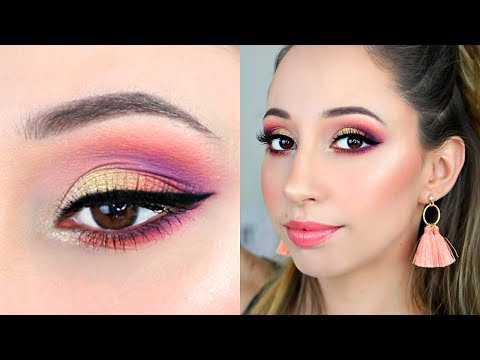 Orange And Purple Eye Makeup Tutorial (great for any dress) - Morphe 25L Artistry Eyeshadow Palette thumbnail