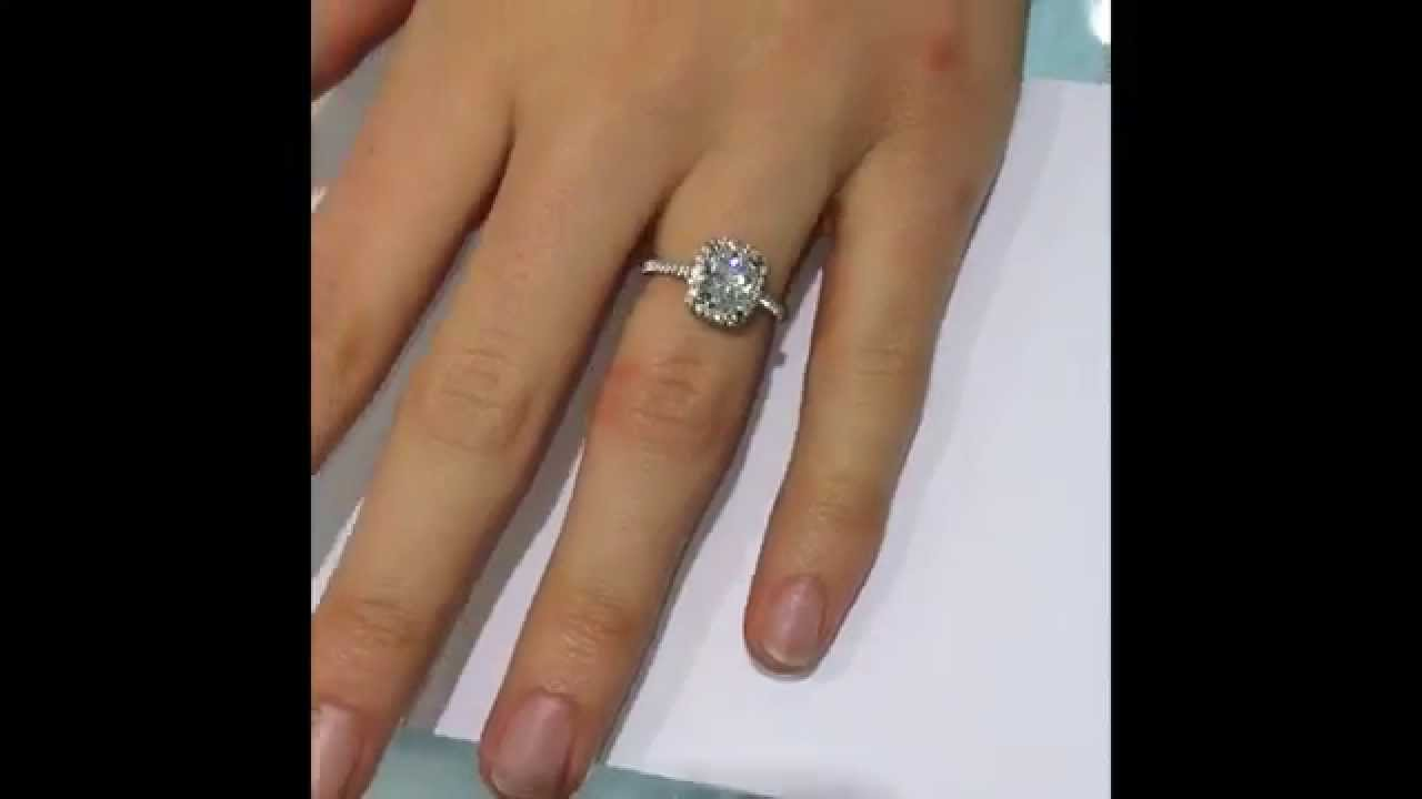 1 75 Ct Cushion Cut Diamond Halo Engagement Ring Youtube