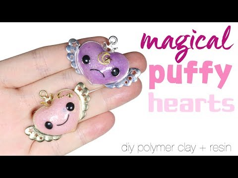How to DIY Magical Puffy Heart Polymer Clay Resin Tutorial