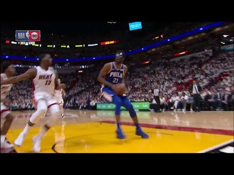 Justise Winslow Blocks Embiid, Embiid Blocks Him Right Back | Sixers vs Heat - Game 3