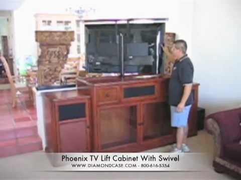 tv lift cabinet with swivel for large screen flat panel tvs