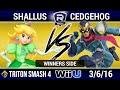 Triton Smash Sunday 4 SQD Shallus (Peach) vs Cedgehog (Captain Falcon)