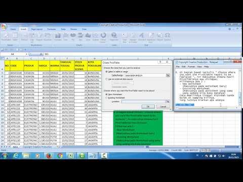 Belajar Excel : Pengolahan data excel super cepat dengan Pivot