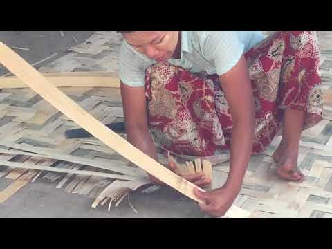 Women in Myanmar Building Bamboo House Walls From Her Home During My Grasshopper Tour