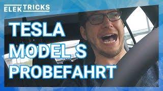 Tesla Model S Probefahrt mit Autopilot und 0 auf 100 km/h Test Deutsch #ElekTricks