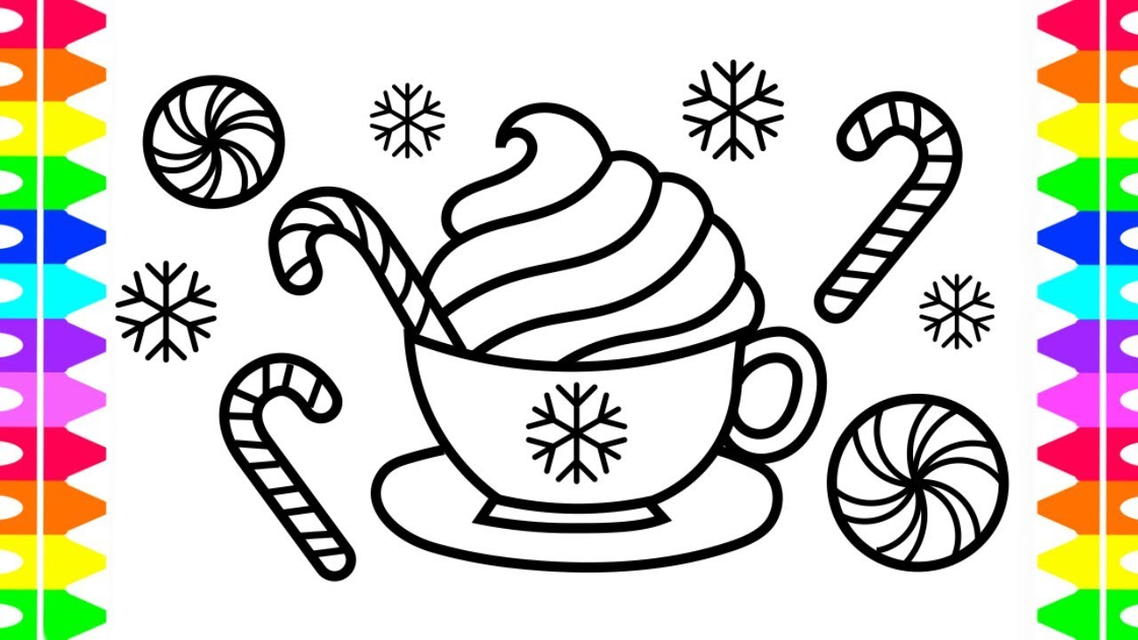 Peppermint Hot Chocolate Coloring Page HAPPY HOLIDAYS