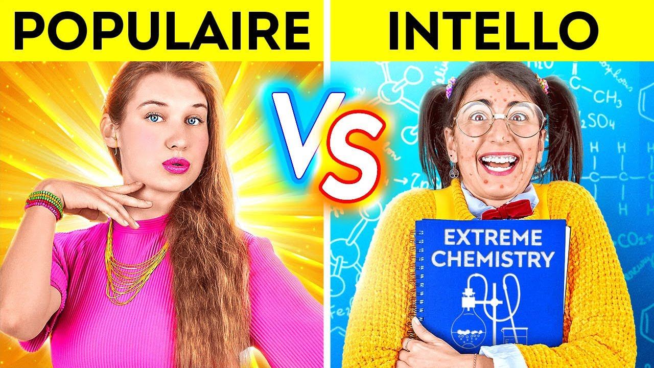 Download FILLE POPULAIRE VS INTELLO PENDANT 24 HEURES ! Genres d'Élèves à l'École ! par 123 GO! CHALLENGE
