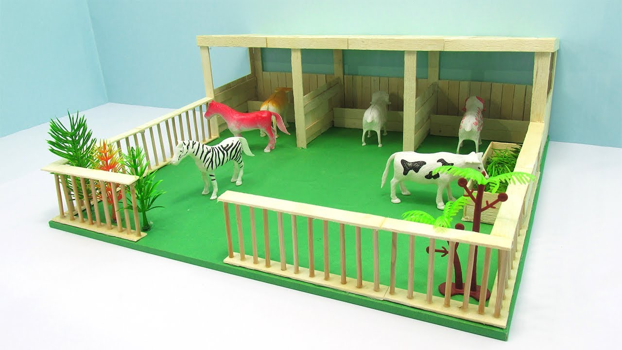 how to make popsicle stick farm house popsicle stick house and garden youtube. Black Bedroom Furniture Sets. Home Design Ideas