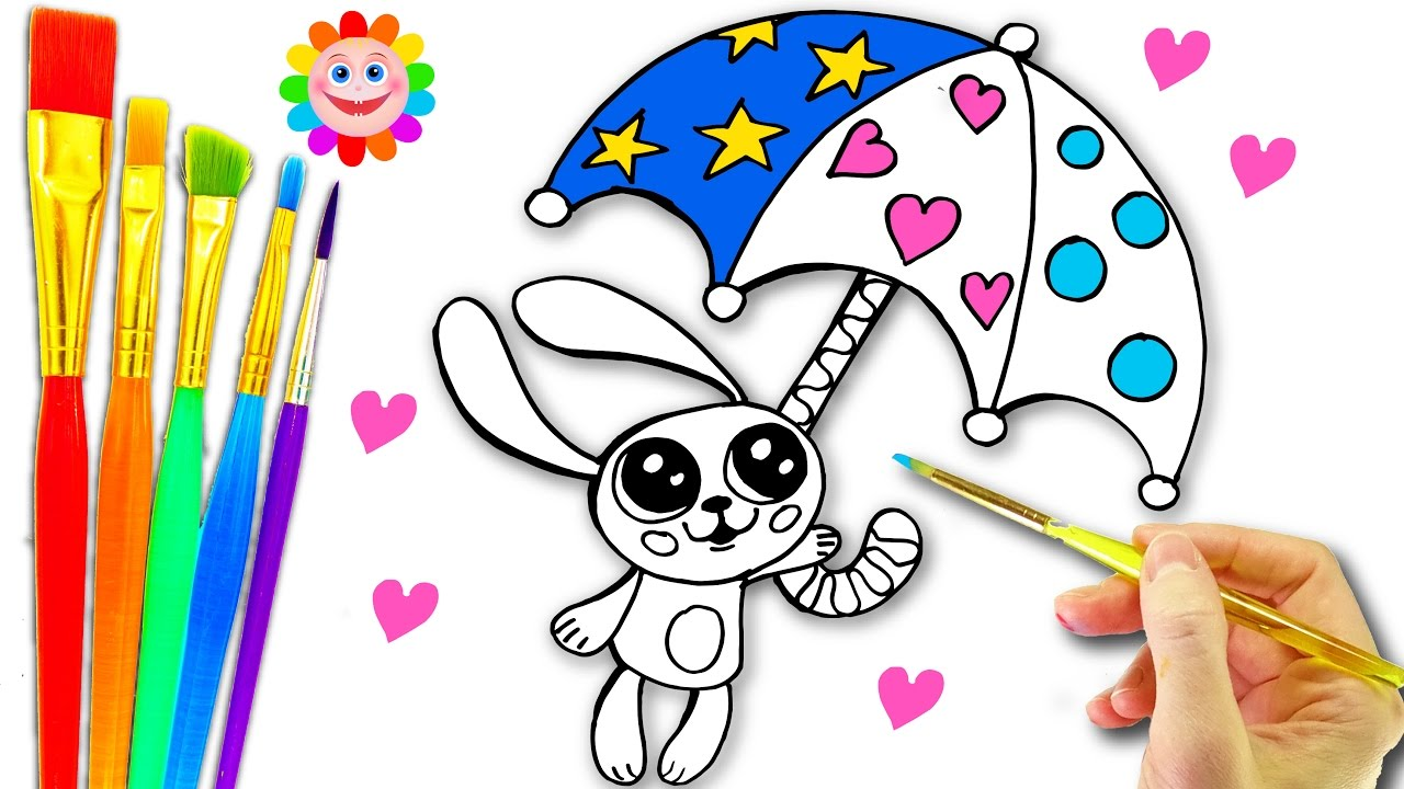 how to draw bunny rabbit umbrella coloring l learn hearts shapes