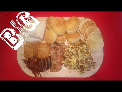 Big Breakfast Mukbang with Pancakes, Eggs, Bacon, Sausage, Hash Browns, Biscuits