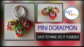 How to make paper quilling Mini Doraemon keychain? Paper quilling for beginners.