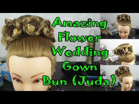 Amazing wedding bun (juda) for marriage with evening gown or long dress ! Princess crown hair bun
