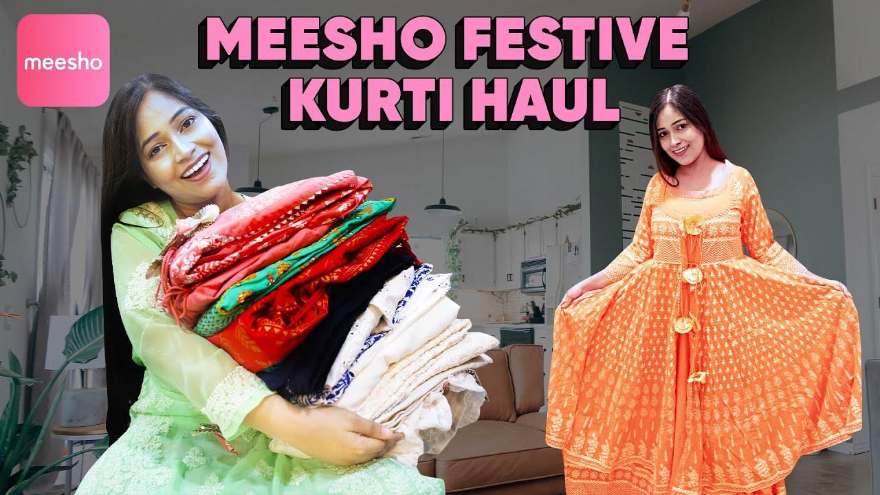 BEST FESTIVE KURTI HAUL FROM MEESHOदिवाली करवाचैथ शादी Special कुर्तीHaul Starting Rs300|Be Natural