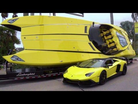 Lamborghini Aventador LP 720-4 Revs Drive Away & 2,700 HP $1 3 Million Lamborghini Speedboat