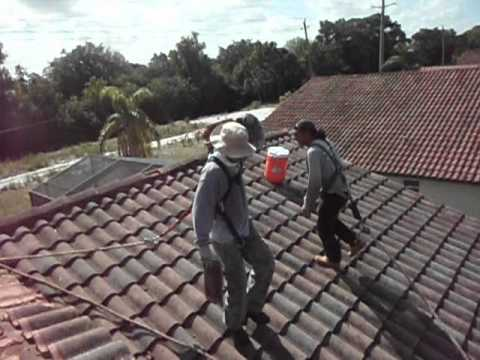 Roofers Trying To Work With Osha Safety Harness On Tile