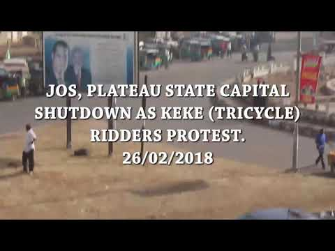 Jos, Plateau State Capital Shutdown as Keke Riders (Tricycle Ridders) protest