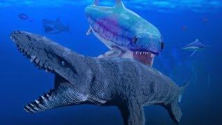 GIANT ICHTHYOSAURUS vs MOSASAURUS! - Feed and Grow Fish - Part 60 | Pungence