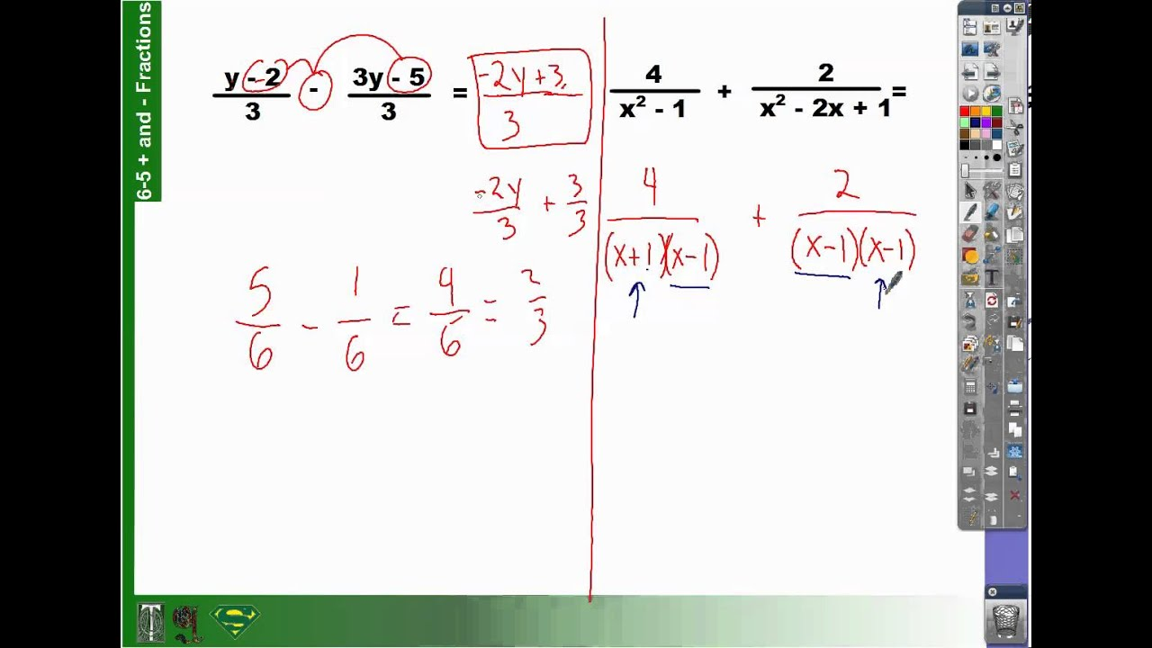 65 How To Add And Subtract Fractions With Polynomial Expressions
