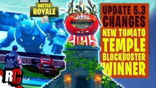 Fortnite UPDATE 5.3 | Tomato Temple Replacing Tomato Town + Winning Blockbuster Movie at Risky Reels