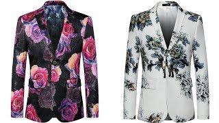 Vintage flower Slim fit Two buttons Men Casual floral blazer