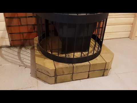 Обкладываем кирпичом портал банной печи Везувий