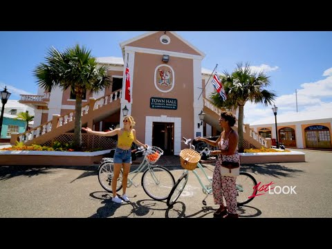 Biking through Bermuda's historic Town of St. George