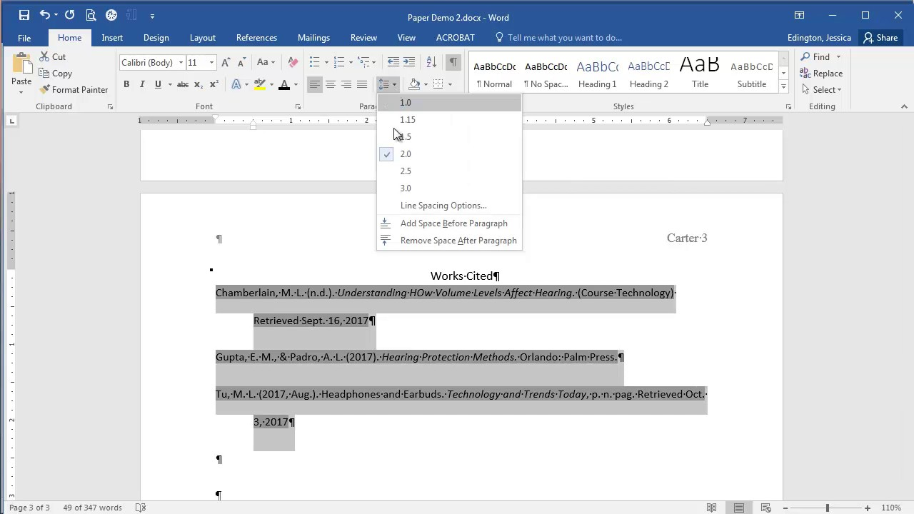 microsoft word 2016 creating a works cited page youtube