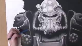 Fallout 4, T-60 Power Armour, Speed Drawing by Lee Bourke