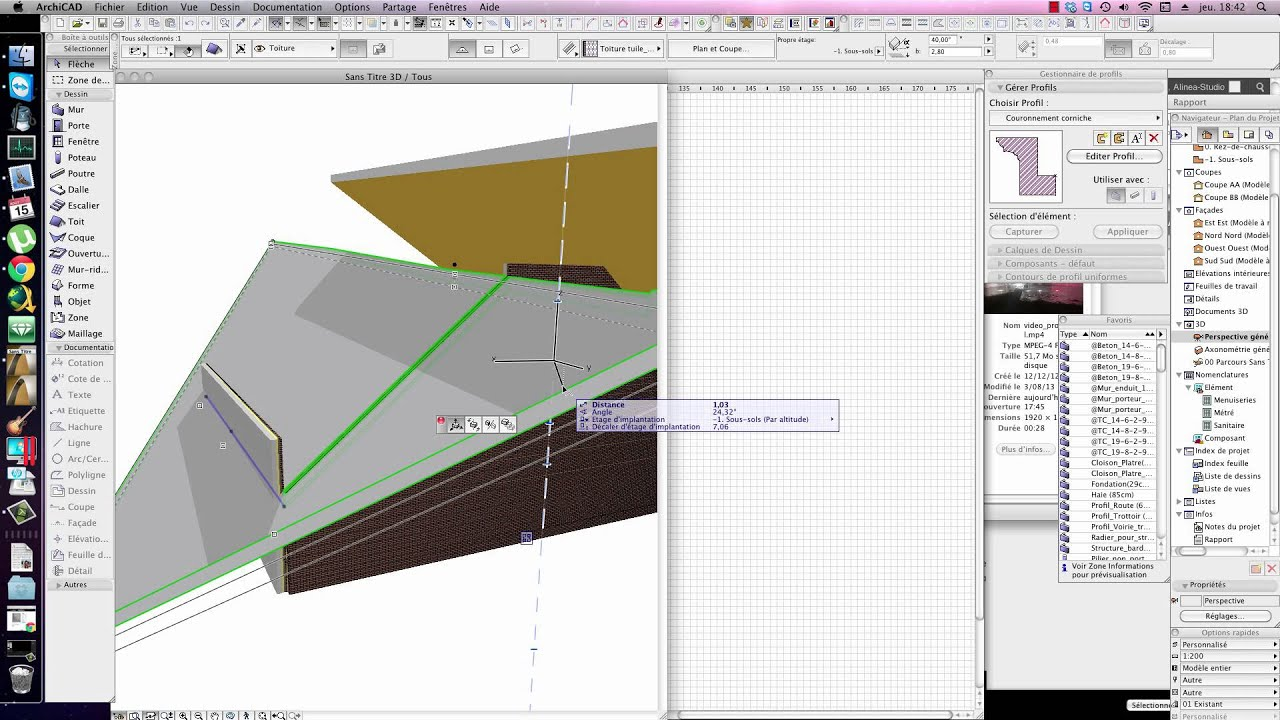 Tutorial Archicad Jonction Toiture Et Mur Pignon Youtube