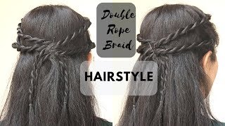 Double Rope Braid Hairstyle | Hairstyle For College/ Office/ School