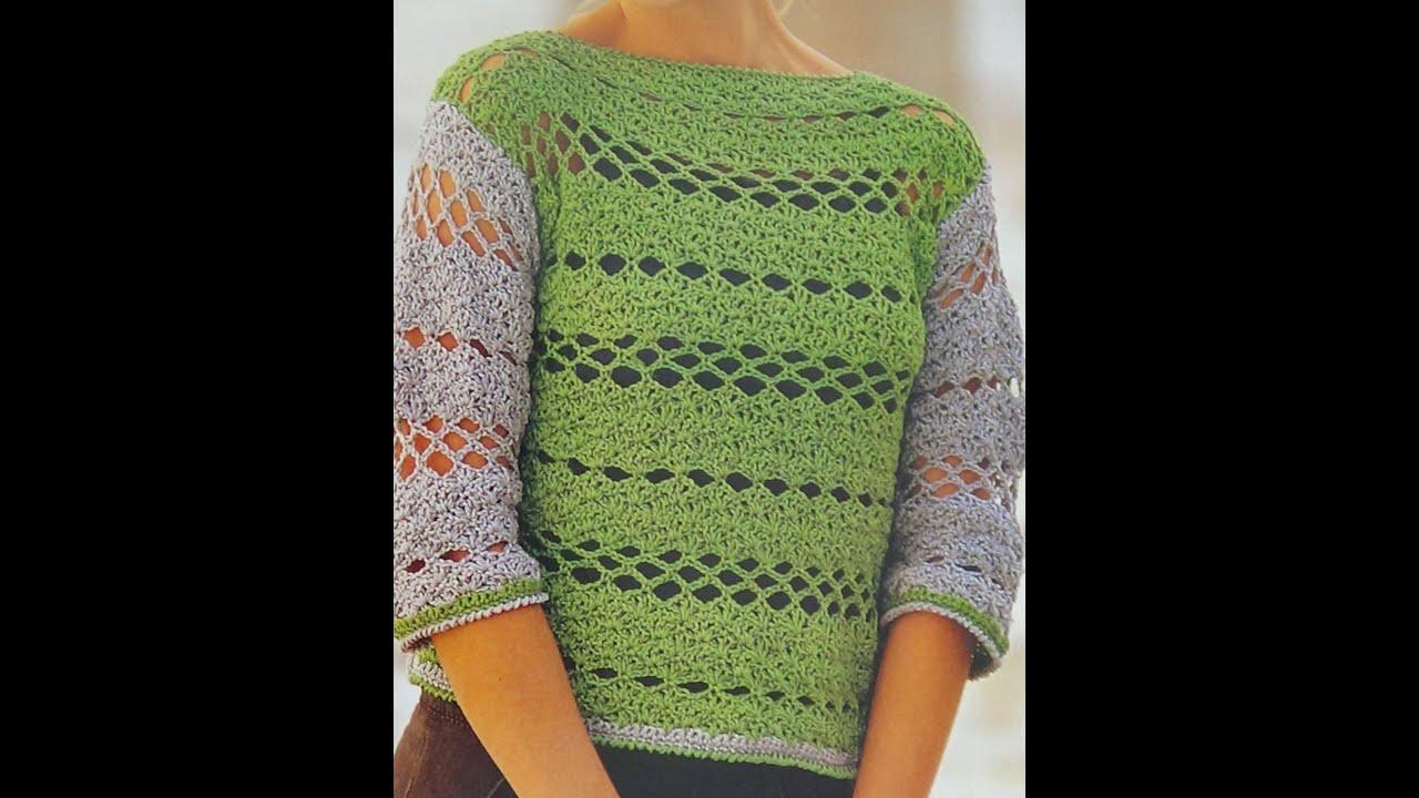 Como hacer jersey calado a crochet f cil y elegante youtube - Jerseys faciles de hacer ...