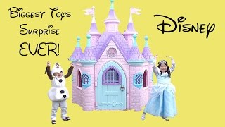 Disney Princess Castle Cinderella BIGGEST SURPRISE Eggs Toys Opening w/ Olaf