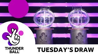 The National Lottery 'Thunderball' draw results from Tuesday 17th July 2018