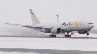 AeroLogic 777-FZN [D-AALH] Snowy Landing at Calgary Airport ᴴᴰ