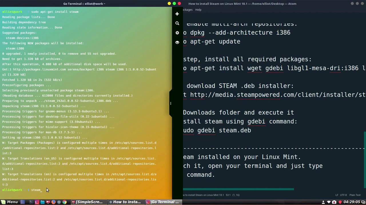 install steam linux apt-get