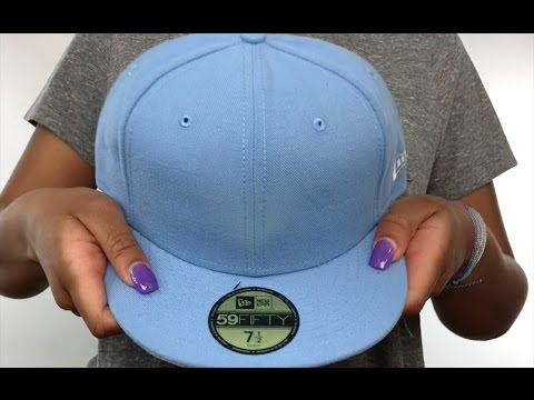 663e659b New Era '59FIFTY-BLANK' Solid Sky Fitted Hat - YouTube
