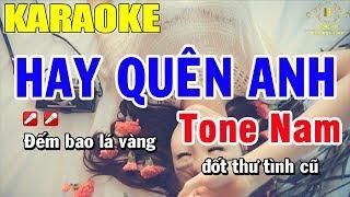 Karaoke Hãy Quên Anh Tone Nam Nhạc Sông | Trọng Hiếu