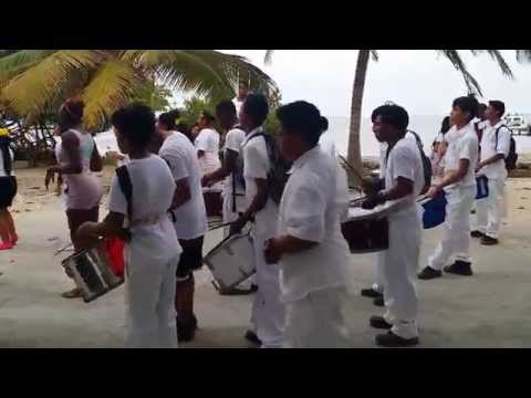 San Pedro Belize school marching band practices for parade