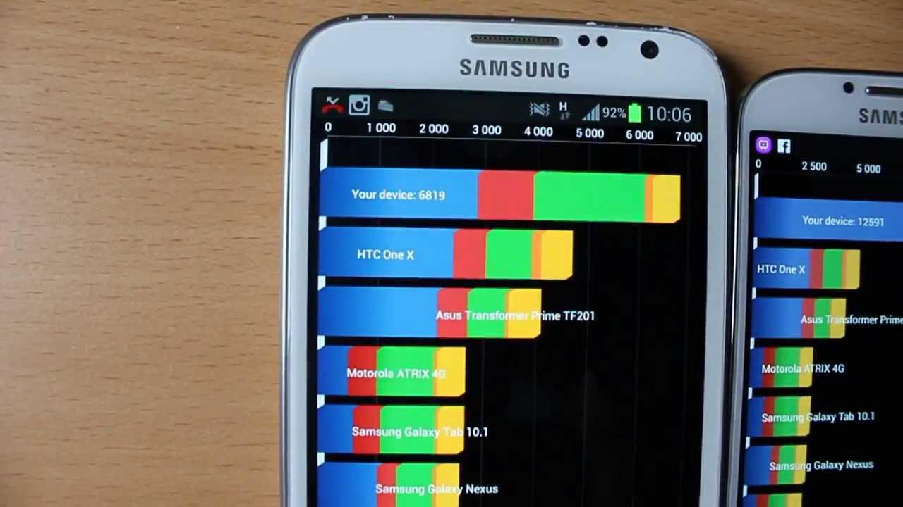 Speed test Samsung Galaxy note 2 VS Galaxy S4 Quadrant ...