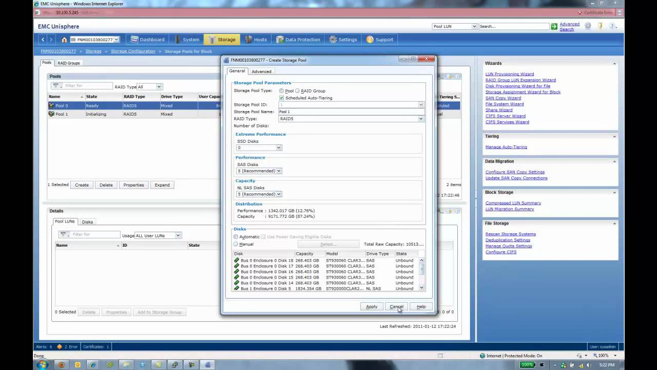 EMC VNX 5300 - Creating a Block Storage Pool