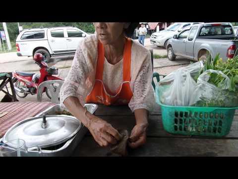 หมกปลา หมกไก่ ที่โขงเจียม ตลาดสดโขงเจียม ตลาดเช้าโขงเจียม