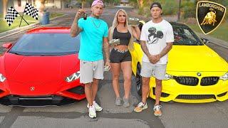 RACING my TWIN BROTHER for $10,000 CASH!! **Lamborghini vs BMW**