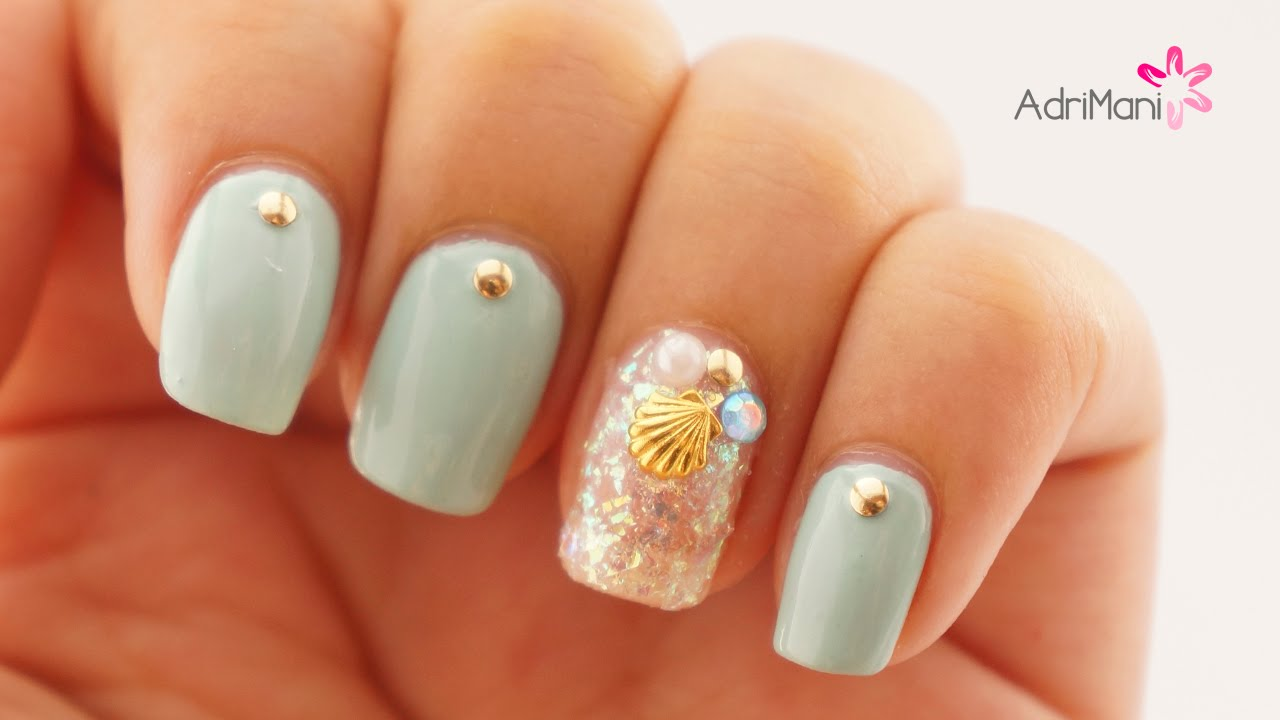 Cómo Poner Piedritas En Las Uñas Aqua Nail Art Youtube