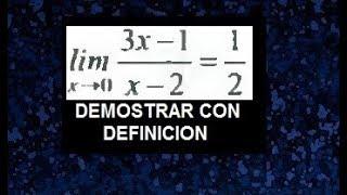 Demostracion de limite utilizando la definición, delta epsilon ejemplos resueltos
