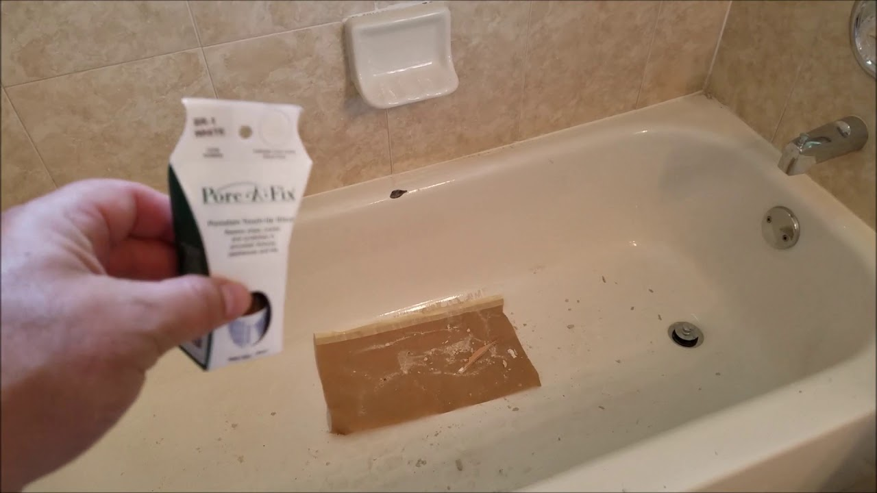 Chip in your porcelain tub? Use this. - YouTube