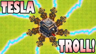 Clash of Clans - THE TOWN HALL 9 NOOB TROLL BASE! Trap Trolling in High Trophies with TH9